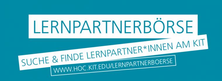 Lernpartnerbörse. Suche und finde Lernpartner*Innen am KIT. WWW.Hoc.kit.edu/Lernpartnerboerse
